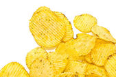 Tasty corrugated chips on white — Stock Photo