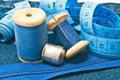Various items for needlework on white — Stock Photo