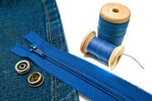 Denim with zipper and metal buttons — Stock Photo