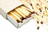 Matchbox and some matches — Stock Photo