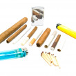 Various cigarettes, matches and lighters — Stock Photo #70334307