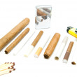 Lighters, matches and cigarettes on white — Stock Photo #70906207