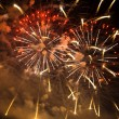 Fireworks with smoke in the night sky — Stock Photo #71512917