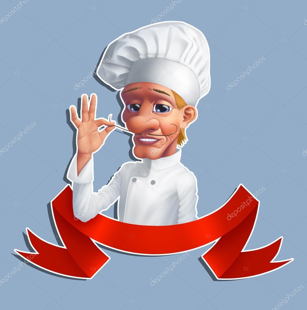 白帽子和衬衫,用薄的法国胡子卡通厨师– 图库图片
