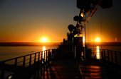 Sunset on a cruise ship in Barcelona — Stock Photo