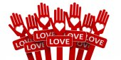 Red hands with love — Stock Photo