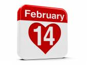 14th February with heart — 图库照片