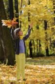 Autumn fun - lovely girl has a fun in autumn park — Stok fotoğraf
