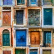Collage of colourful front doors to houses and homes, collection — Stock Photo #68570997