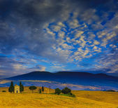 Tuscany landscape hills and meadow, San Quirico di Orcia, Tuscan — Stock Photo
