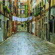 Venice, Italy - old street and historic tenements — Stock Photo #70812799