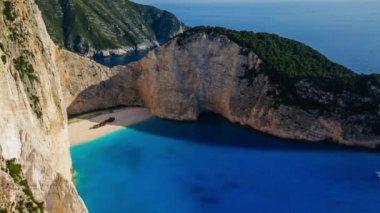 Shipwreck bay, Navagio - Zakynthos, Greece - aerial view — Stock Video