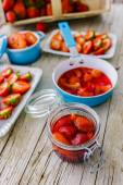 Strawberries - fresh strawberries in the kitchen, seasonal delig — Stock Photo