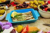 Greek cuisine dishes - feta, choriatiki, halloumi, tzatziki, sar — Stock Photo