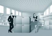 Young woman and man in warehouse — Stock Photo