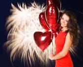 Сексуальная счастливая женщина с воздушными шарами — Стоковое фото