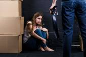 Young woman is a victim of domestic violence — Stock Photo