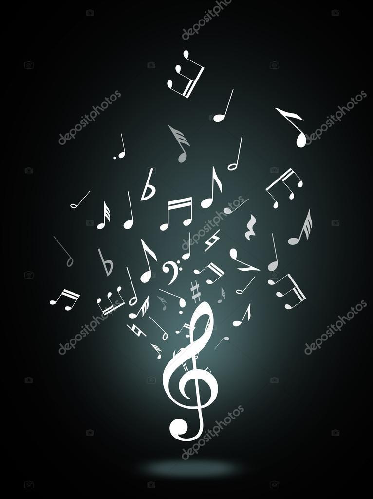 高音谱号或黑色背景上的音乐符号– 图库图片