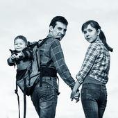 Baby boy in backpack — Fotografia Stock