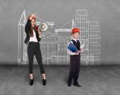 Little boy and woman builder — Stock Photo