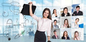 Collage of people from different professions — Stock Photo