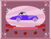 Honeymoon on the retro car — Stock Vector