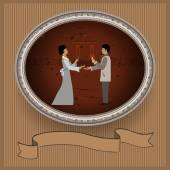 Marriage proposal and a ring gift — Stock Vector