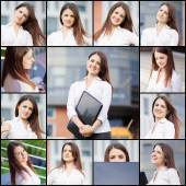 Collection portraits of a beautiful business woman — Stock Photo