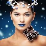 Winter Beauty Woman. Christmas Girl Makeup.Make-up. Snow Queen — Stock Photo #59536879