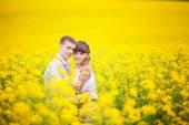 In piedi all'aperto alla luce solare di sposi in un abbraccio di campo giallo, — Foto Stock