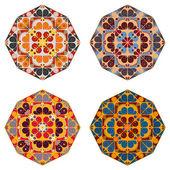 Set of round ethnic design elements — Vecteur