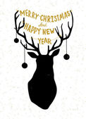 Hand drawn Christmass deer illustration — Vettoriale Stock
