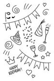 Set of hand drawn doodles, birthday theme — Vecteur