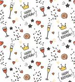 Hand drawn seamless doodle pattern, birthday theme — 图库矢量图片
