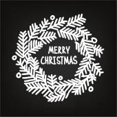 Hand drawn Christmas doodle wreath, blackboard — Stockvektor