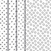 Set of four doodle seamless geometric patterns — Vector de stock