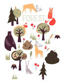 Vector set of animals and trees — Stock Vector