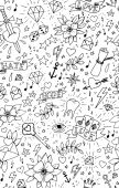 Hand drawn tattoo seamless pattern — Vecteur