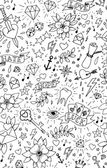 Hand drawn tattoo seamless pattern — Stockvektor