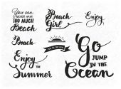 Set of summer motivational quotes about beach vacation and relaxation — Stock Vector