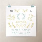 Ensemble de rubans vintage dessinés à la main et des éléments pour la conception de votre mariage — Vecteur