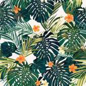 Bright colorful tropical seamless background with leaves and flowers — Vecteur