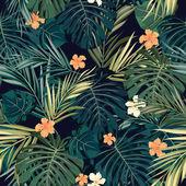 Fondo transparente tropical colorido brillante con hojas y flores — Vector de stock
