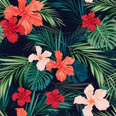 叶子和花明亮多彩热带无缝背景 — 图库矢量图片