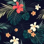 Яркие красочные тропические бесшовный фон с листьями и цветами — Cтоковый вектор