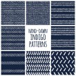 Set of eight indigo blue and white seamless hand drawn geomtric textures — Stock Vector #75657131