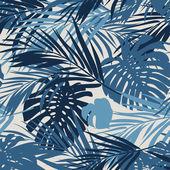 叶子和花的热带的无缝的单色的蓝色的靛蓝的伪装的背景 — 图库矢量图片