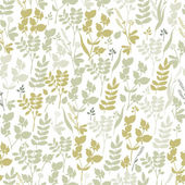 Seamless hand-drawn floral pattern with herbs — Stock Vector