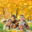 Grandparents and grandchildren in autumn park — Stock Photo #52566007