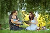 Family reading a book to little son in the park — Stock Photo
